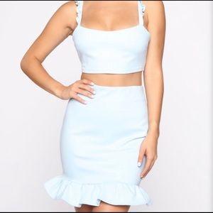 Fashion Nova baby blue 2 piece ruffle dress.